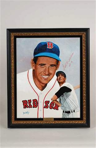 Ted Williams Signed Leon Wolf Painting PSA