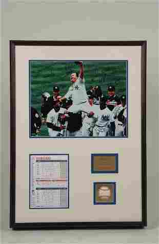 1998 Yankees Team Signed Display Steiner