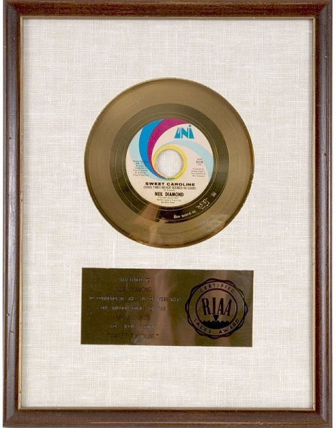 63: Neil Diamond RIAA Gold 45 Record Award