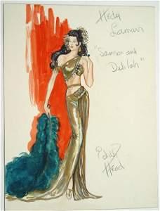 Edith Head Hedy Lamarr Costume Design Sketch