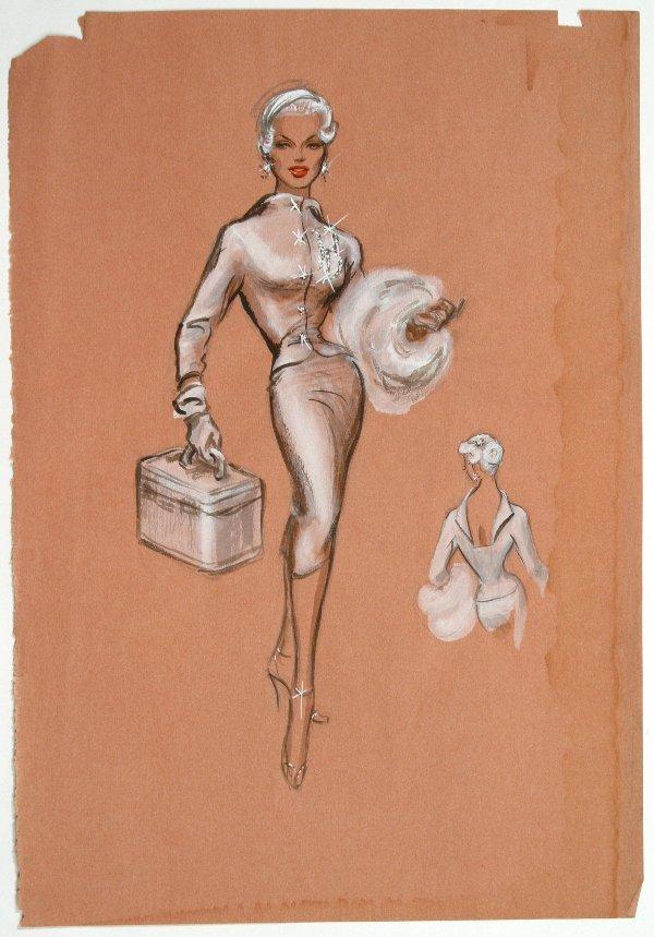 Edith Head Marilyn Maxwell Costume Sketch