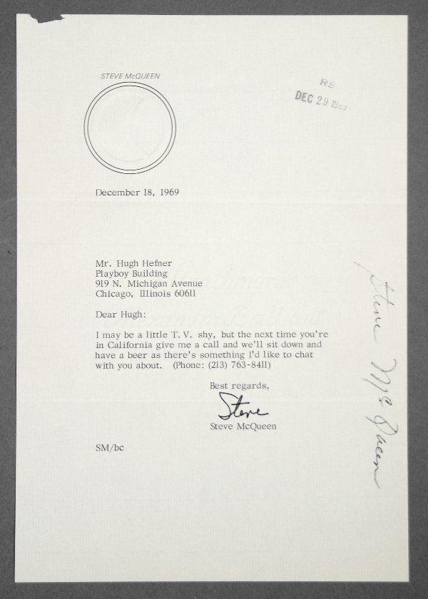 PLAYBOY: Steve McQueen Letter to Hugh Hefner