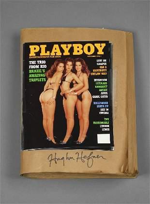"""Hugh Hefner Signed """"Brown Book"""" PLAYBOY Proof"""