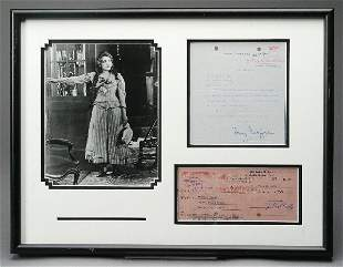 Mary Pickford Typed Letter and Check