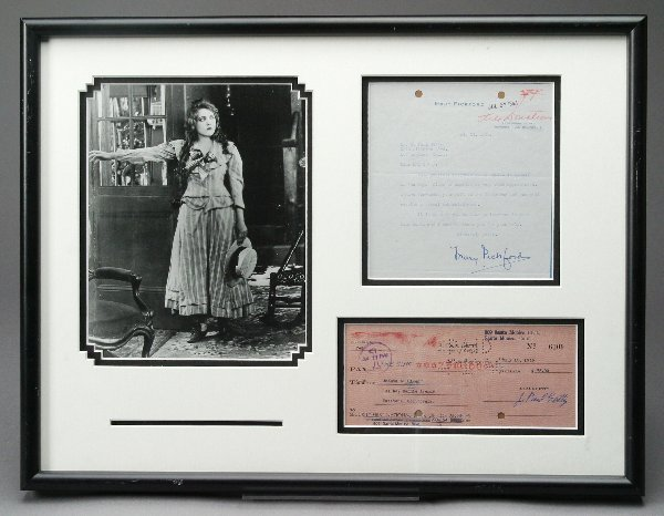 10: Mary Pickford Typed Letter and Check