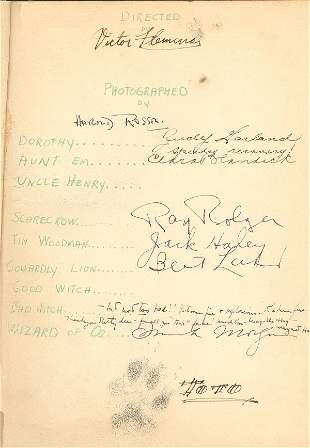 Wizard of OZ book signed by Cast