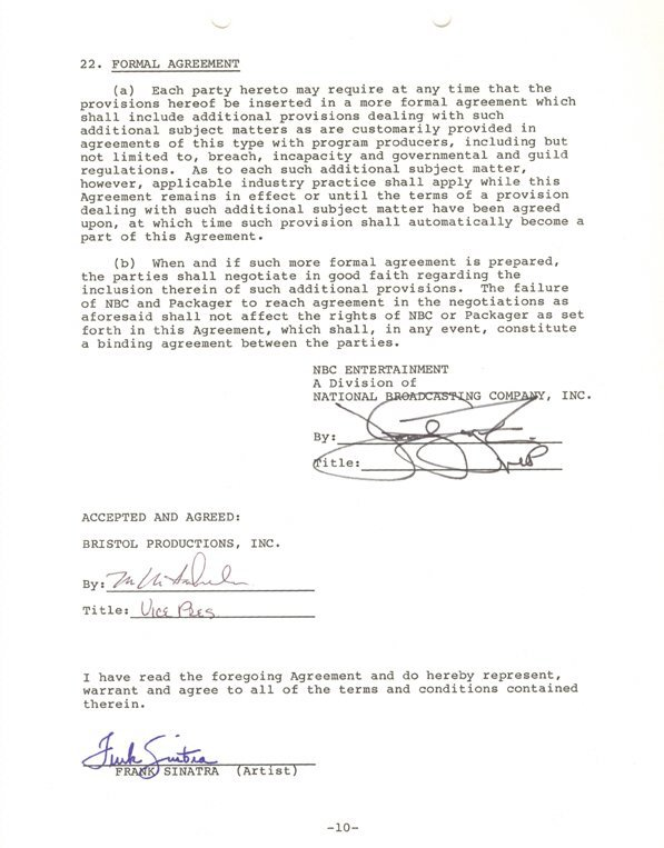19: Frank Sinatra Signed Contract