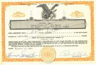 Frank Sinatra Stock Certificate