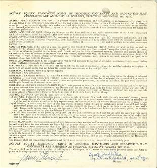 Jimmy Stewart Signed Contract