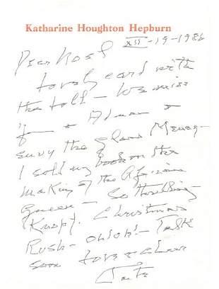 Katharine Hepburn Handwritten Letter