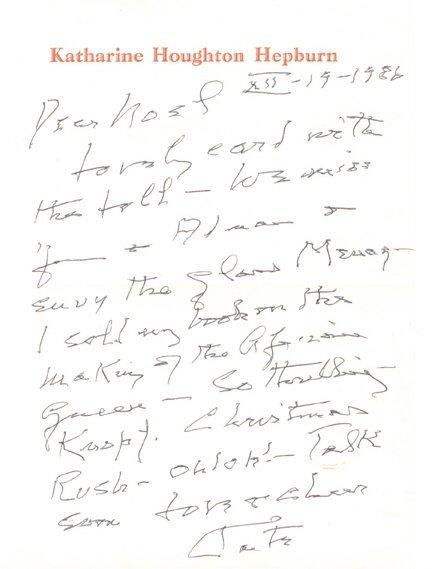 24: Katharine Hepburn Handwritten  Letter