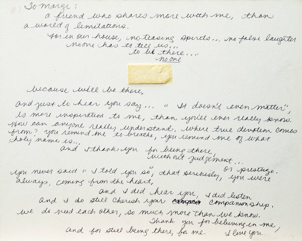 123: Stevie Nicks Handwritten Poem