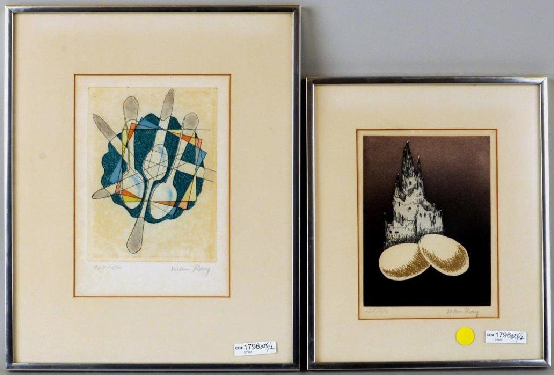 Man Ray, Two Framed Untitled Etchings