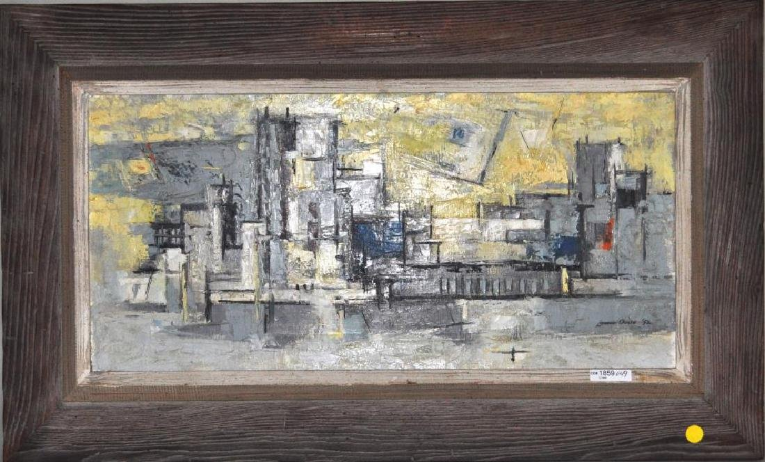 "Lamar Dodd, ""City"" Abstract Cityscape O/C"