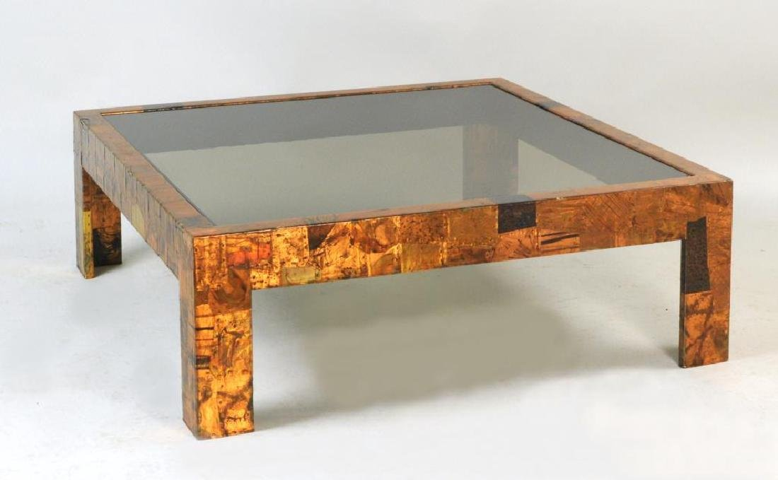 """Paul Evans Style Copper """"Patchwork"""" Cocktail Table"""