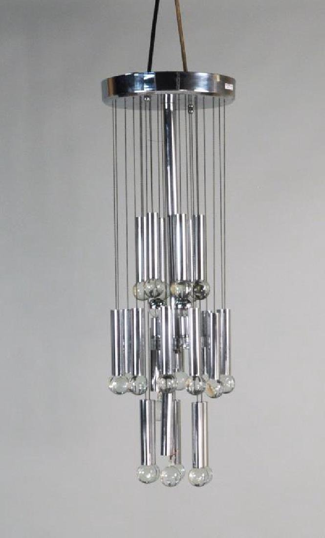 Gaetano Sciolari Chrome & Glass Chandelier