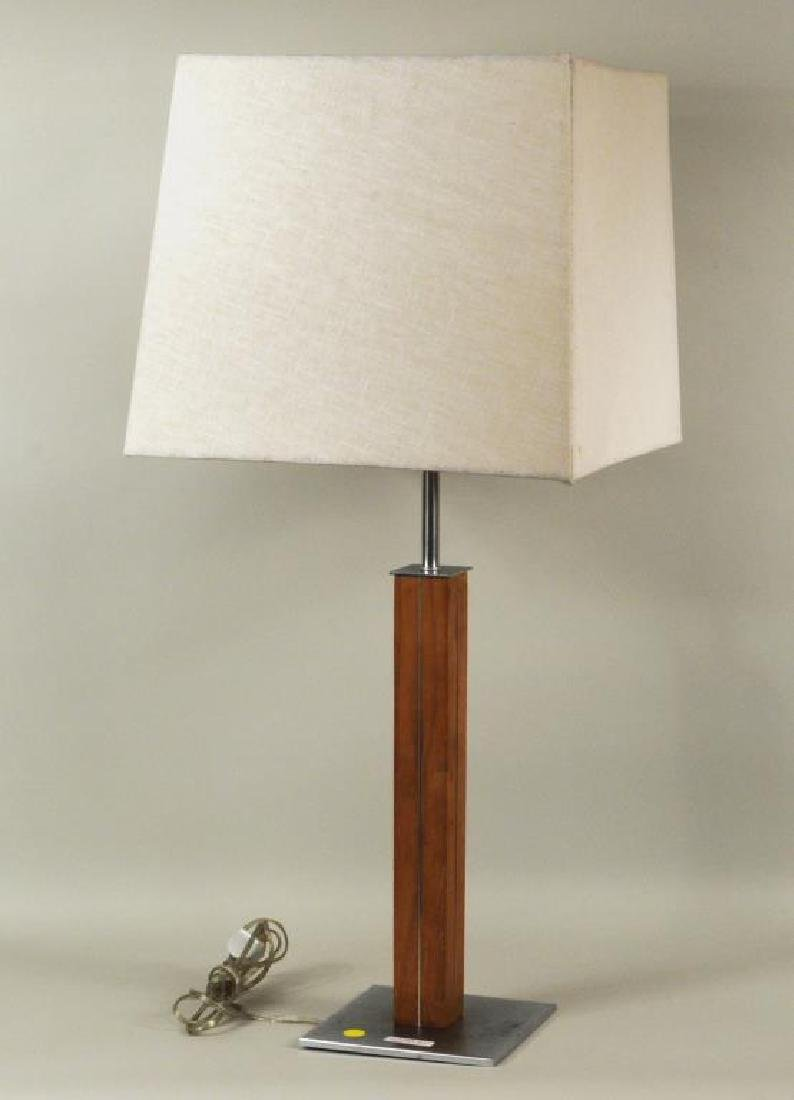 Walter Von Nessen Walnut, Brushed Metal Table Lamp