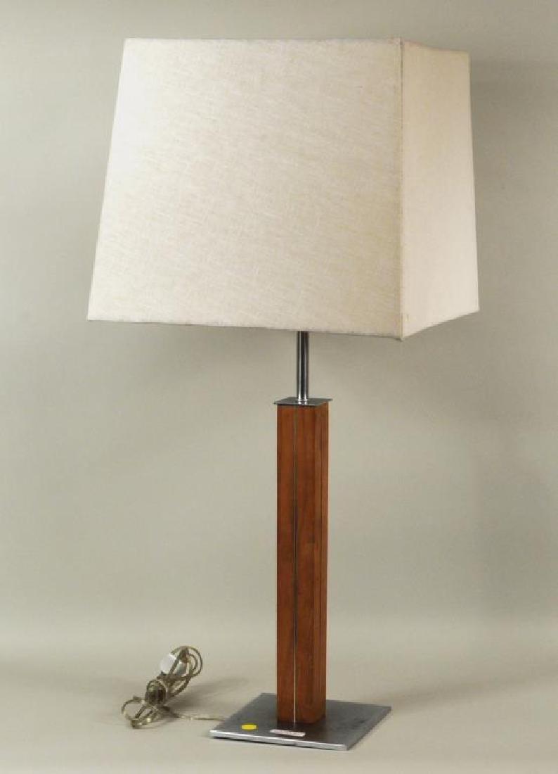 Walter Von Nessen Walnut, Brushed Metal Table Lamp