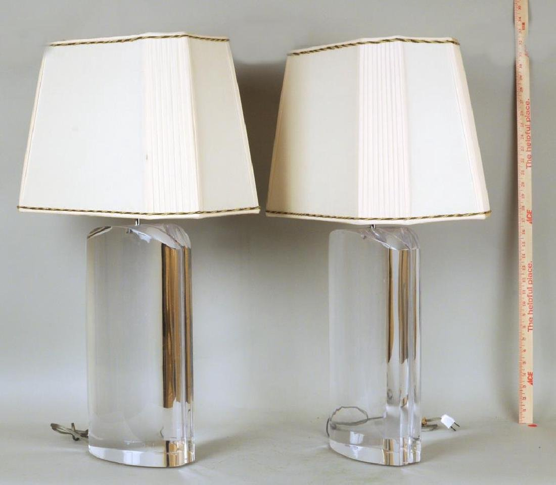 Exceptional Pair of Large Lucite Table Lamps