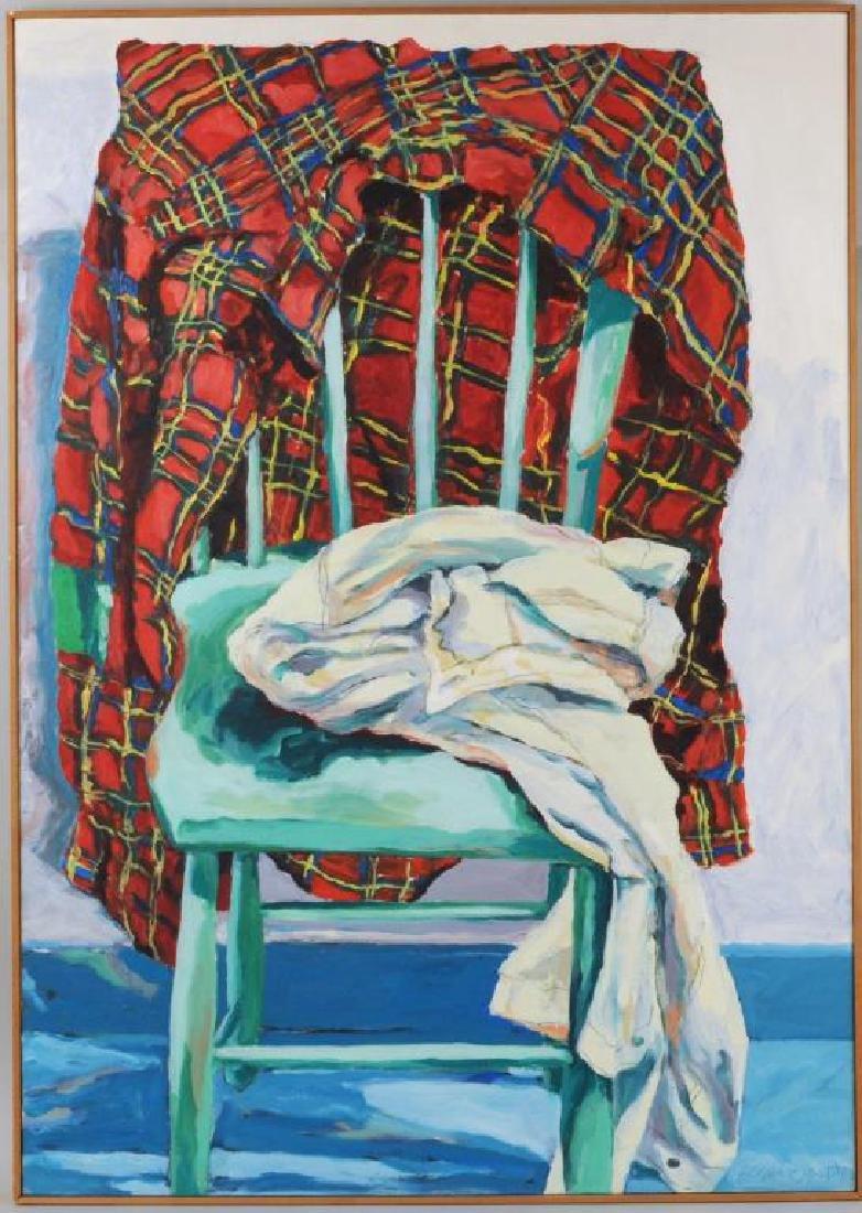 "Carol MacDonald, ""Plaid Shirt On Green Chair"" O/C"