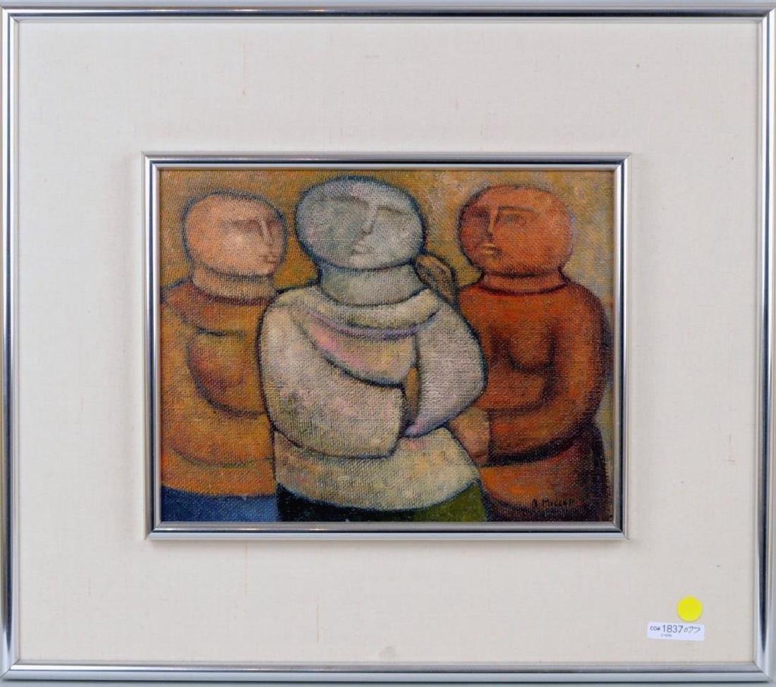 "Arnaldo Miccoli, ""3 Figures"" Oil on Masonite"