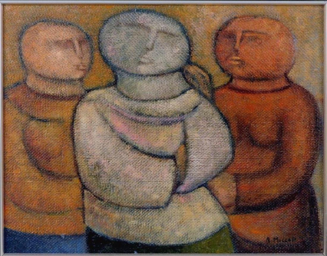 "Arnaldo Miccoli, ""3 Figures"" Oil on Masonite - 2"