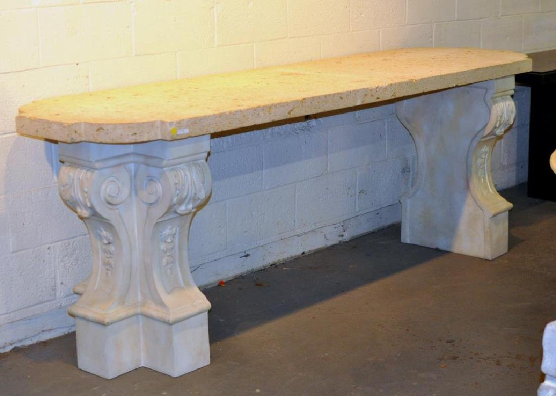 Poss. Lorin Marsh Fossilized Marble Top Slab Table