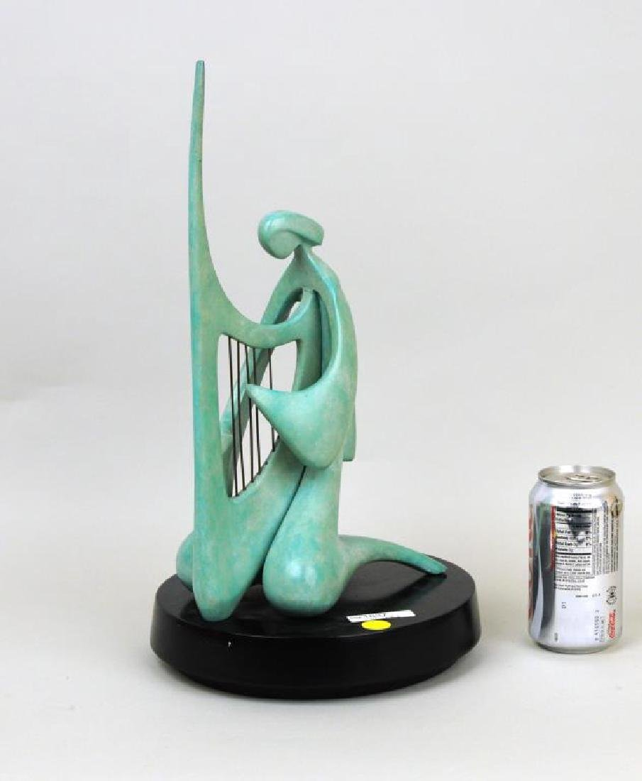 "Victor Halvani, ""Harpist"" Bronze Sculpture"