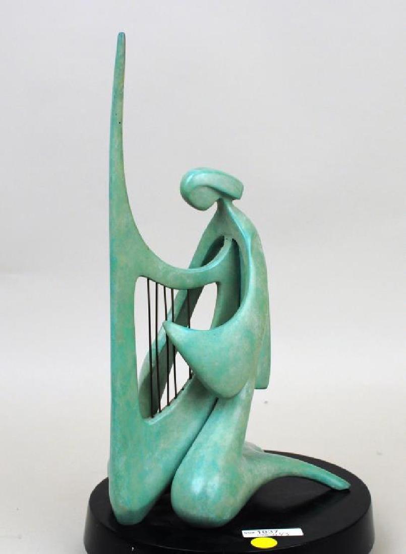 "Victor Halvani, ""Harpist"" Bronze Sculpture - 6"