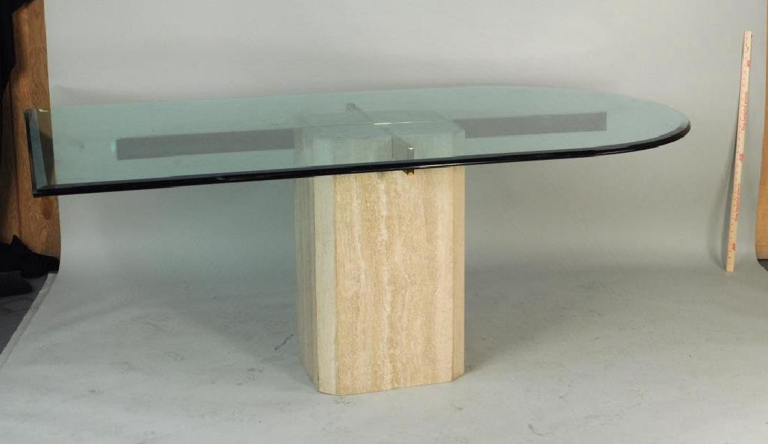 Modern Glass, Chrome & Marble Dining Table