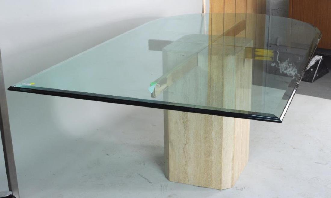 Modern Glass, Chrome & Marble Dining Table - 2
