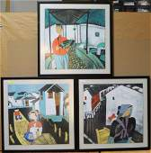 Group Three Modern Framed Asian Paintings