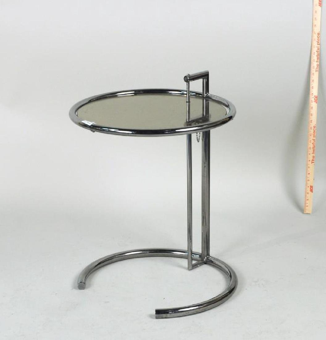 Mid-Century Chrome & Glass Adjustable Height Table