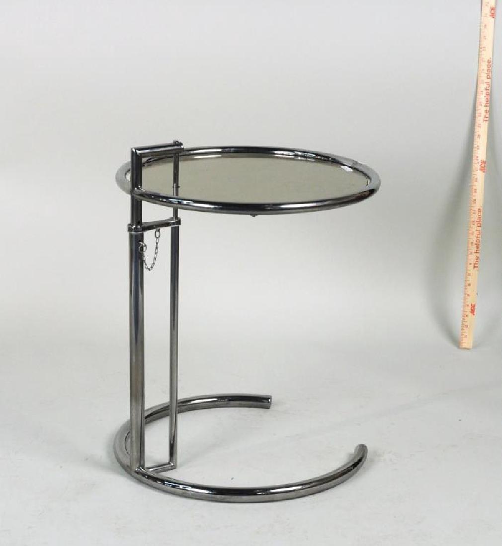 Mid-Century Chrome & Glass Adjustable Height Table - 2