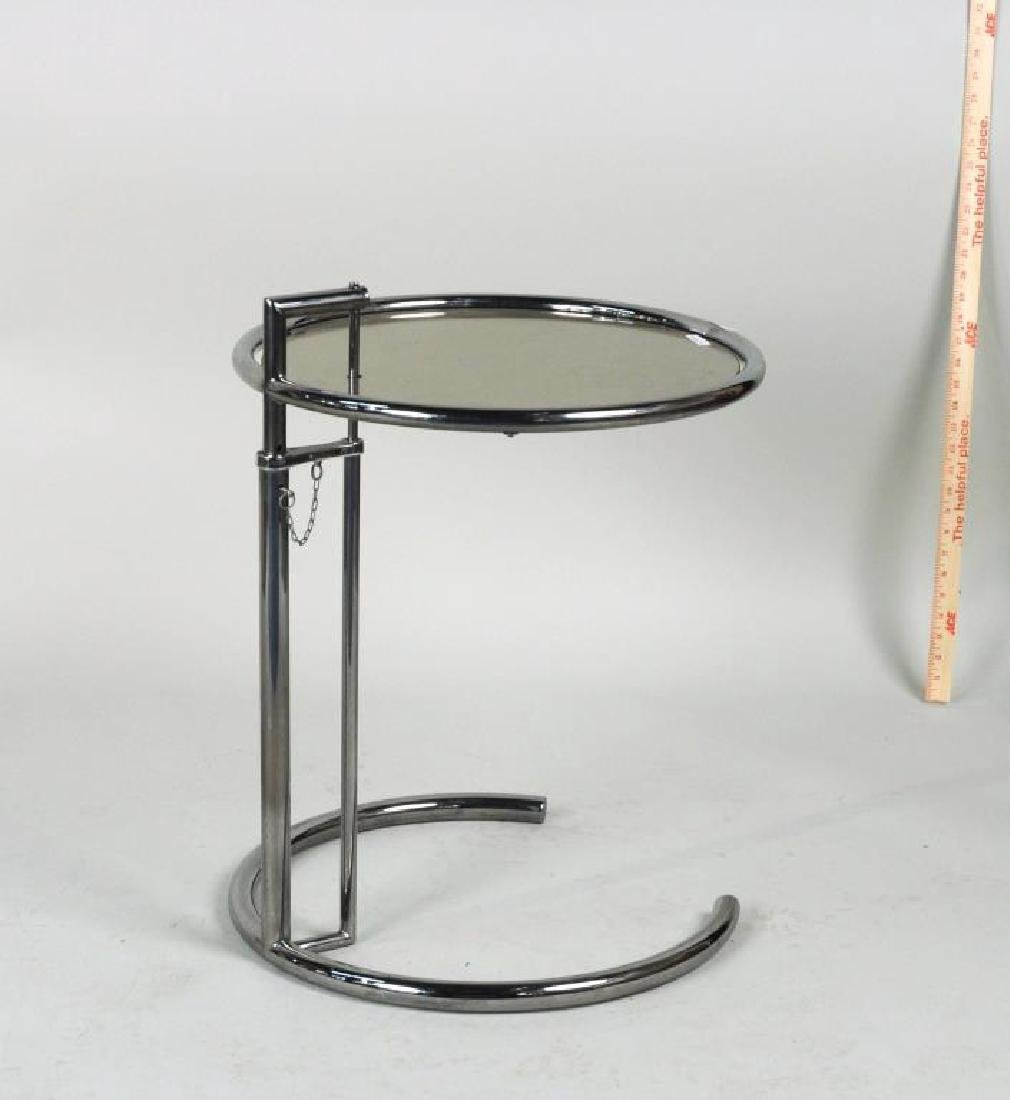 Mid-Century Chrome & Glass Adjustable Height Table - 2