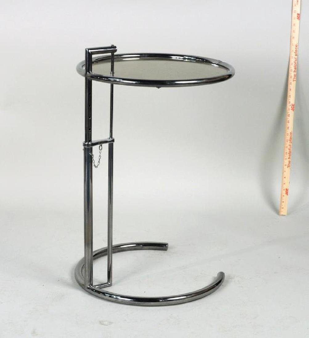 Mid-Century Chrome & Glass Adjustable Height Table - 3