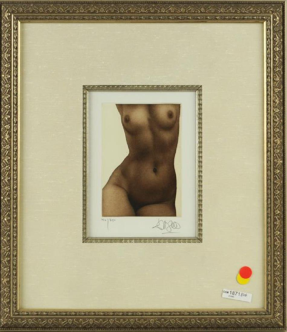 """Framed Colored Engraving """"Nude"""""""