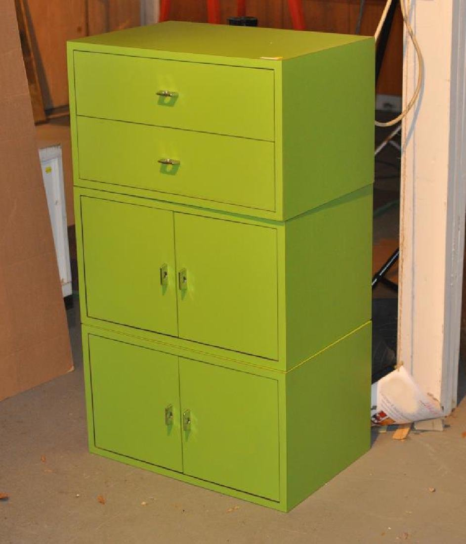 Mid-Century Modern Chartreuse Painted Cabinets
