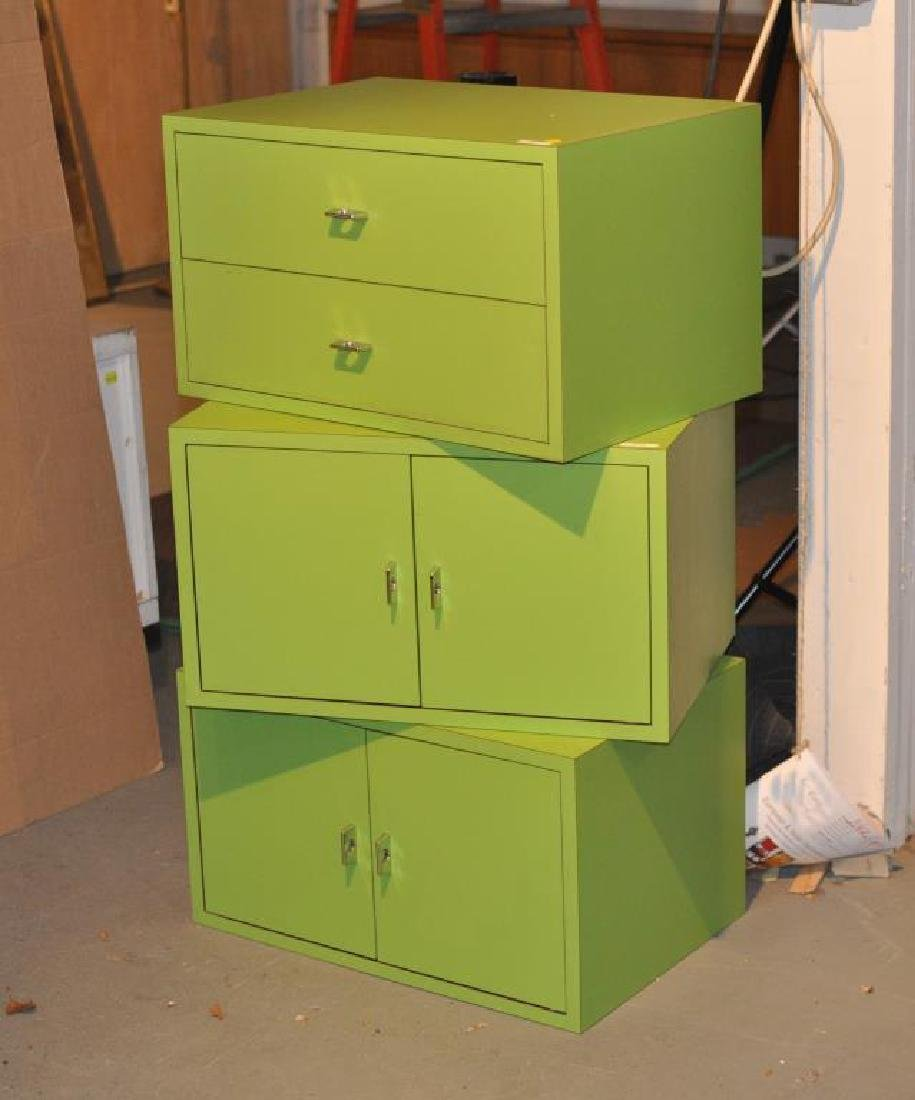 Mid-Century Modern Chartreuse Painted Cabinets - 2