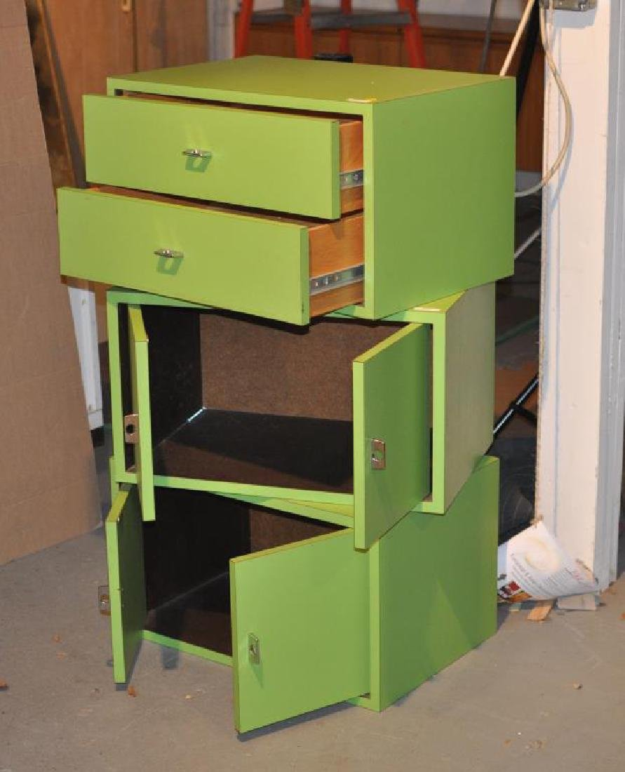 Mid-Century Modern Chartreuse Painted Cabinets - 3