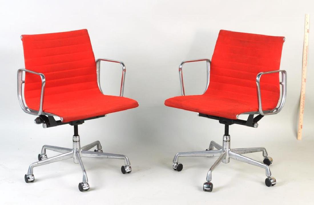 Pair Eames Swivel Desk Chairs, Red Upholstery