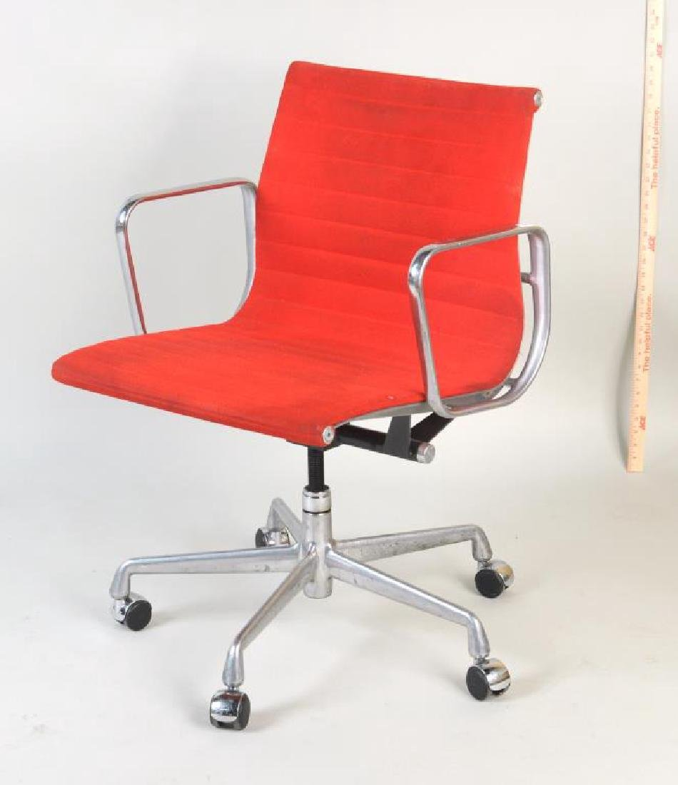 Pair Eames Swivel Desk Chairs, Red Upholstery - 2