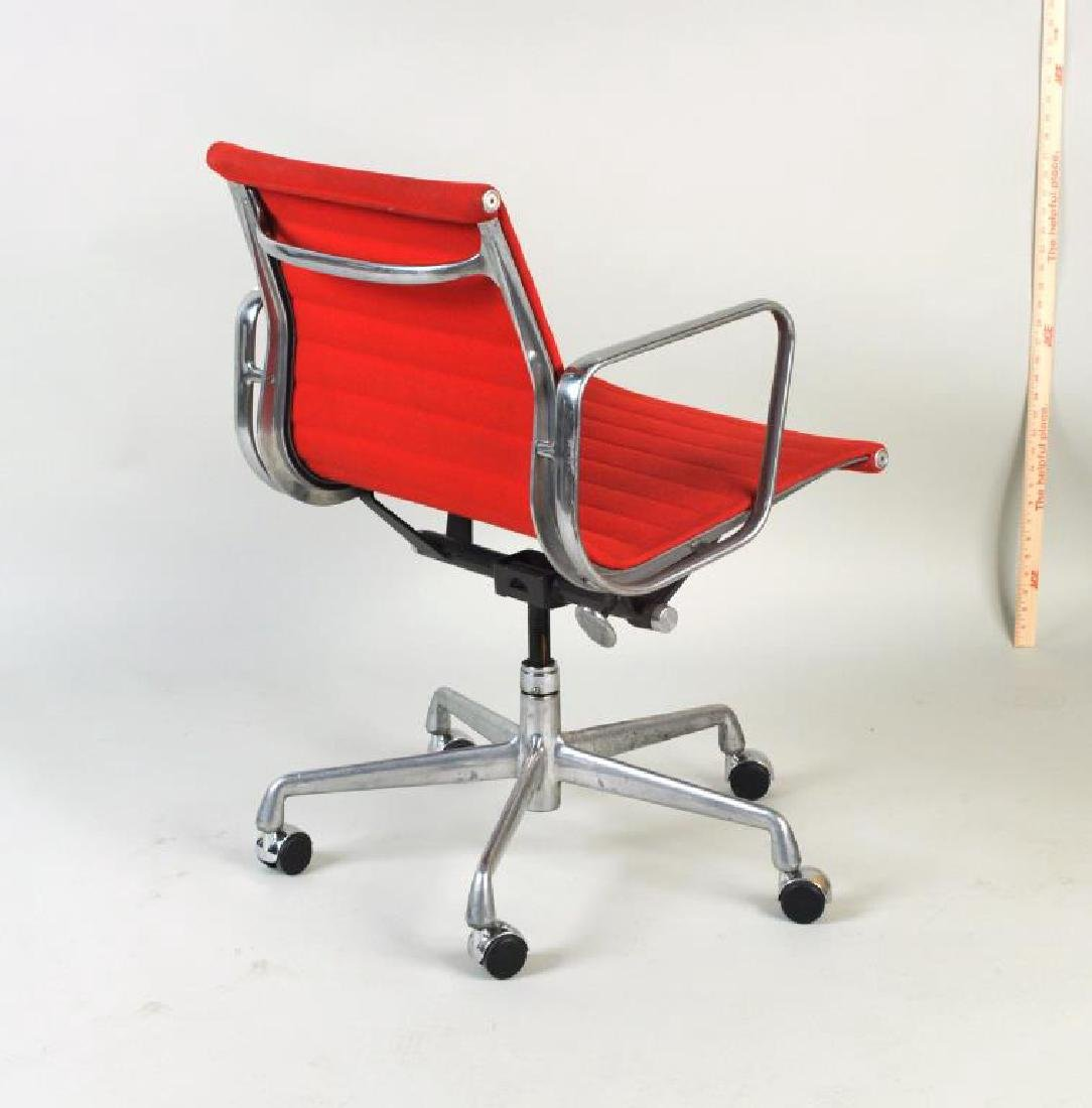Pair Eames Swivel Desk Chairs, Red Upholstery - 3