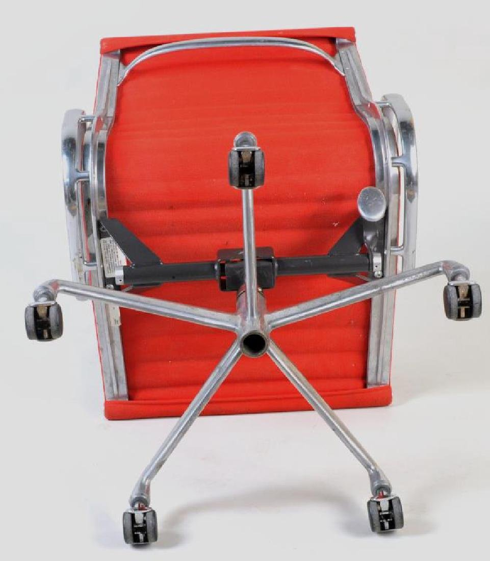 Pair Eames Swivel Desk Chairs, Red Upholstery - 4