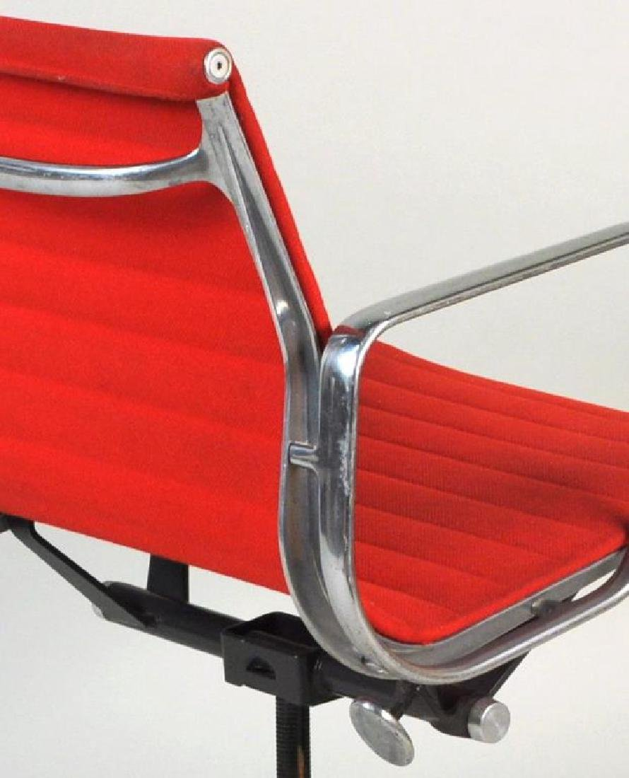 Pair Eames Swivel Desk Chairs, Red Upholstery - 5