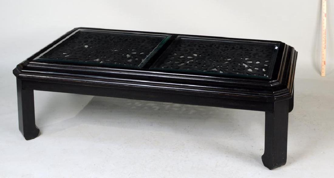 Ebonized and Open Carved Asian Coffee Table - 2