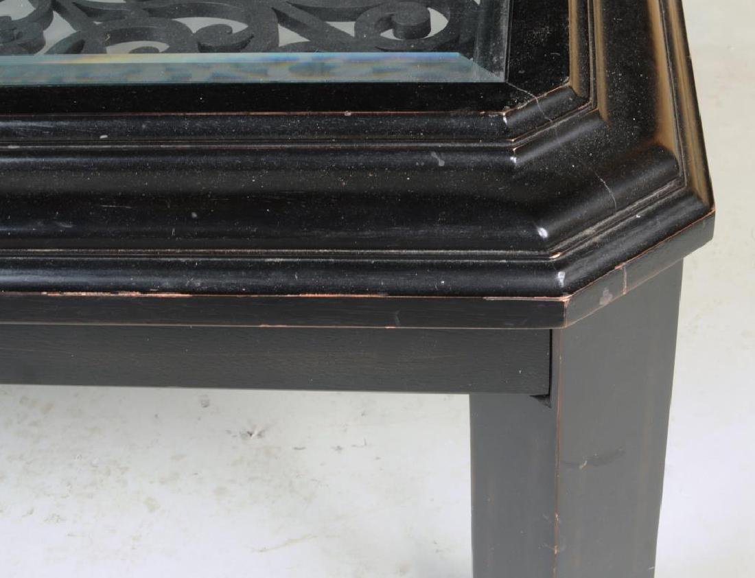 Ebonized and Open Carved Asian Coffee Table - 4