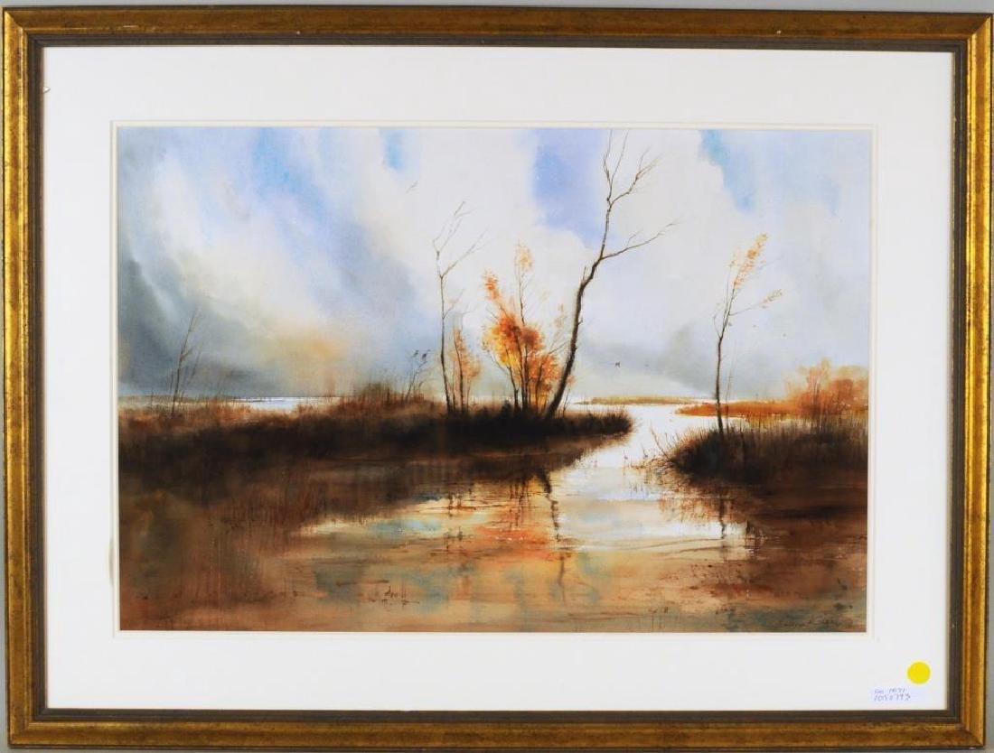 """Harvey Kidder, """"Marsh Landscape"""" W/C"""