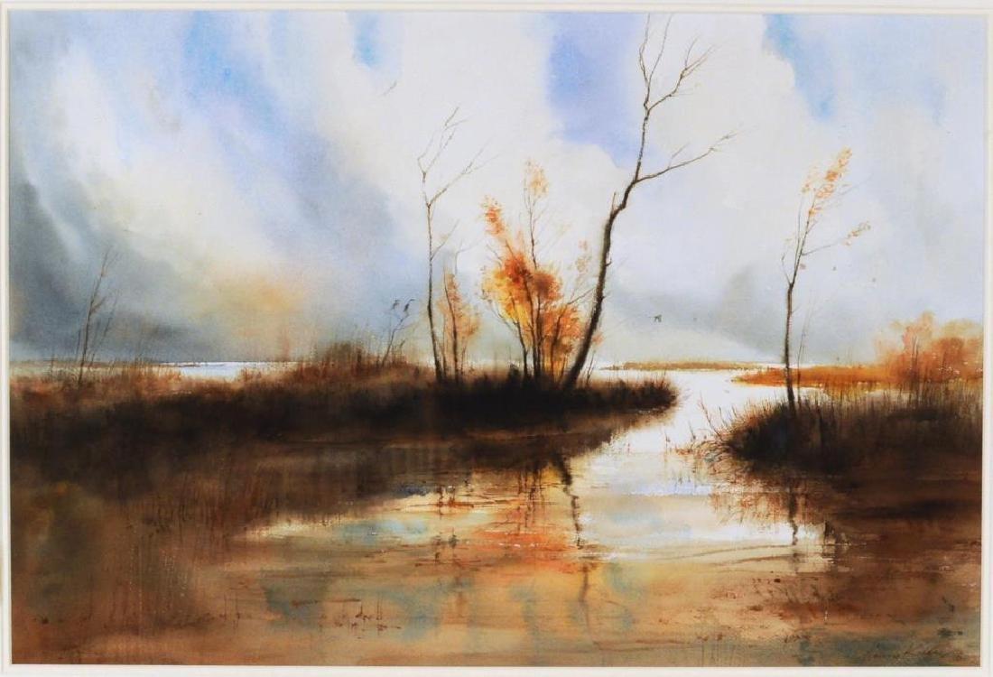 """Harvey Kidder, """"Marsh Landscape"""" W/C - 2"""