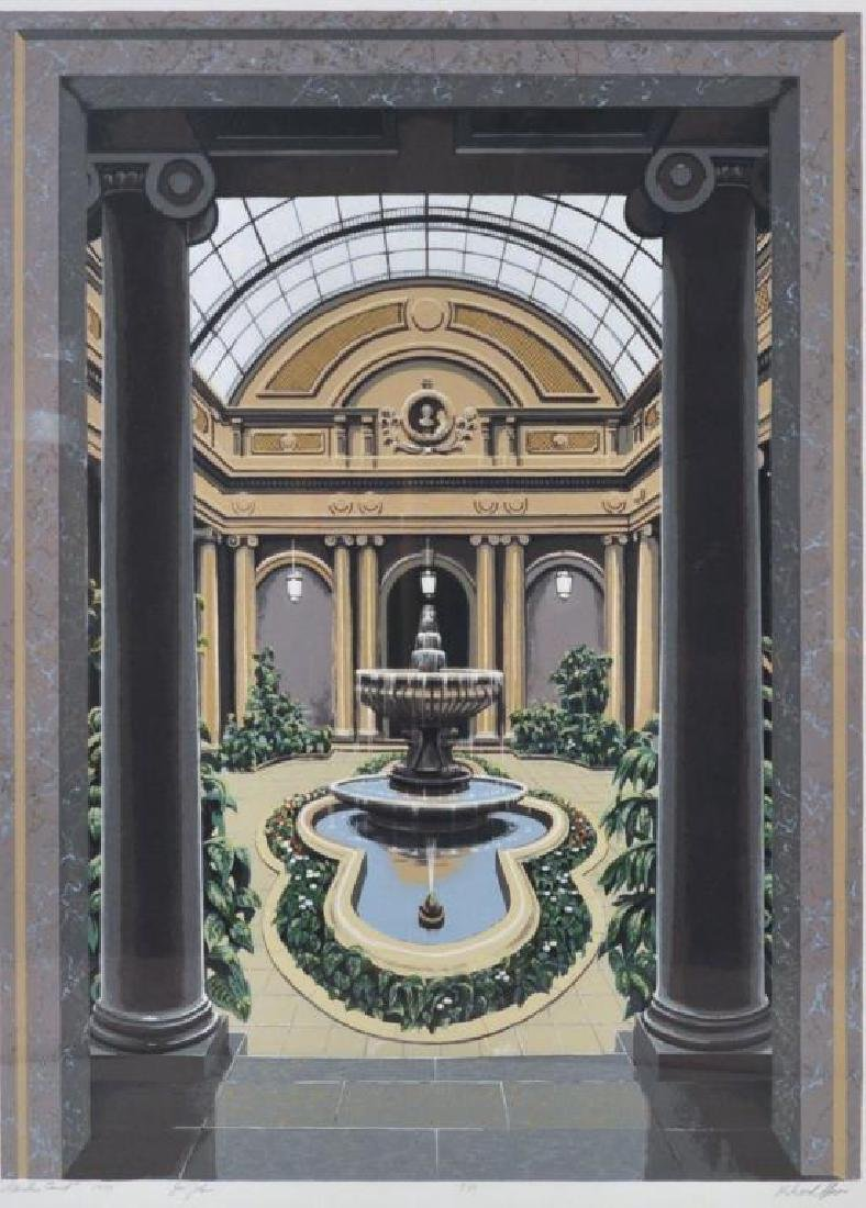 "Richard Haas, ""Garden Court"" Framed Silkscreen - 2"